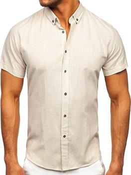 Ecru pánska bavlnená košeľa s krátkymi rukávmi Bolf 20501