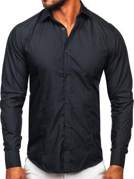 291d29cb6f10 Grafitová pánska elegantá košeľa s dlhými rukávmi BOLF 1703