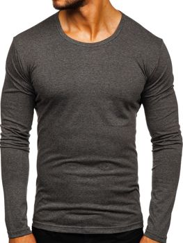 Grafitové pánske tričko s dlhými rukávmi bez potlače Bolf 2099L