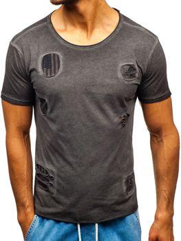 Grafitové pánske tričko s potlačou BOLF 320