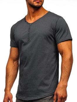 Grafitové pánské tričko s výstrihom do V bez potlače Bolf 4049