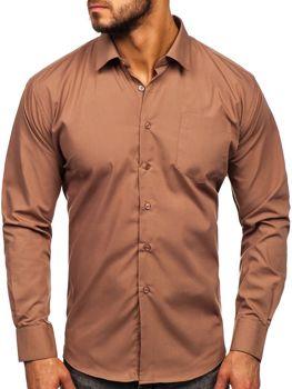Hnedá pánska elegantná košeľa s dlhými rukávmi Bolf 0003
