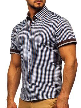 Hnedá pánska károvaná košeľa s krátkymi rukávmi BOLF 4510