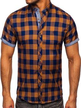Hnedá pánska károvaná košeľa s krátkymi rukávmi Bolf 6522