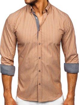 Hnedá pánska pruhovaná košeľa s dlhými rukávmi Bolf 20731-1