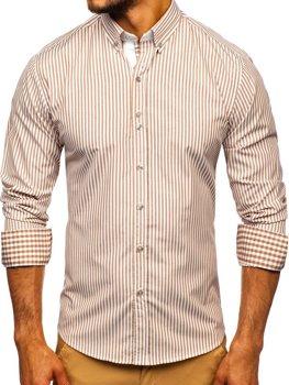Hnedá pánska prúžkovaná košeľa s dlhými rukávmi Bolf 9711