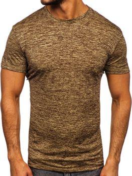Hnedé pánske tréningové tričko bez potlače Bolf S01