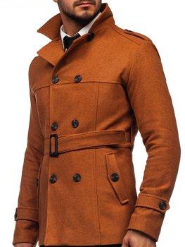 Hnedý pánsky zimný dvojradový kabát s vysokým golierom a opaskom Bolf 0009