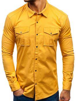 8347808e742b Horčicová pánska košeľa s dlhými rukávmi BOLF 2058-1