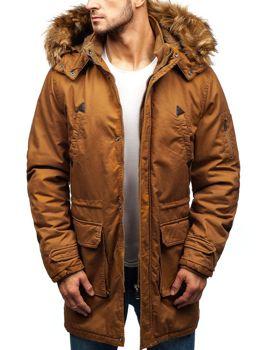 Kamelová pánska zimná bunda parka BOLF R107
