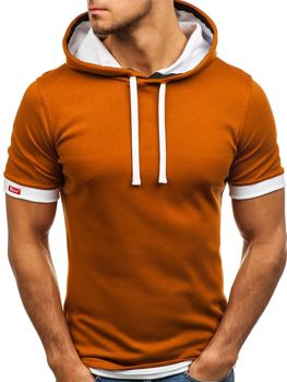 Kamelové pánske tričko bez potlače BOLF 08