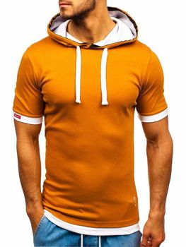 Kamelové pánske tričko s kapucňou BOLF 08-1