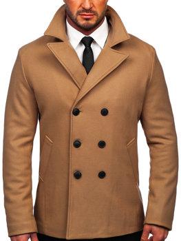 Kamelový pánsky zimný dvojradový kabát s vysokým golierom Bolf 8801