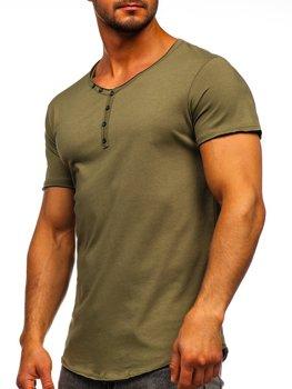 Khaki pánske tričko s výstrihom do V bez potlače Bolf 4049