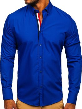 Kobaltová pánska elegantá košeľa s dlhými rukávmi BOLF 3713