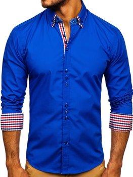 Kráľovsky modrá pánska elegantná košeľa s dlhými rukávmi BOLF 0926