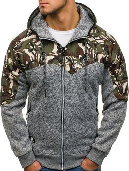 Maskáčovo-šedá pánska mikina na zips s kapucňou BOLF HH502