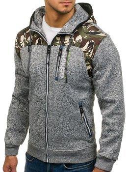 Maskáčovo-šedá pánska mikina na zips s kapucňou BOLF HH515