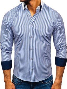 acfd6cdd02 Modrá pánska elegantá košeľa s dlhými rukávmi BOLF 0909-A