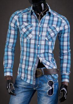 Modrá pánska károvaná košeľa s dlhými rukávmi  Bolf R010