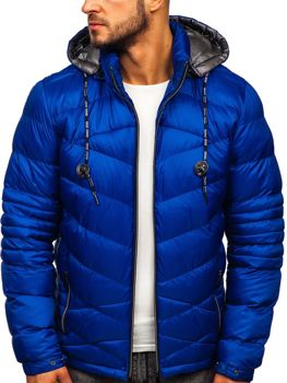 Modrá pánska prešívaná športová zimná bunda Bolf 50A223