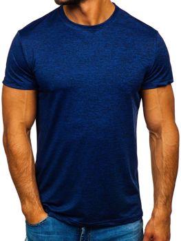 Modré pánske tričko bez potlače Bolf S01