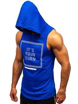 Modré pánske tričko bez rukávov s potlačou a kapucňou BOLF 1280