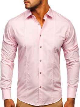 Ružová pánska elegantná košeľa s dlhými rukávmi Bolf 4705G