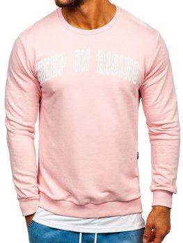 Ružová pánska mikina bez kapucne s potlačou BOLF 11114