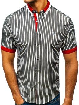 Šedá pánska elegantná károvaná košeľa s krátkymi rukávmi BOLF 4501