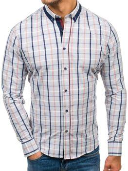 Šedá pánska károvaná košeľa s dlhými rukávmi BOLF 8809