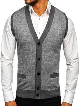 Šedá pánska pletená vesta Bolf 8133