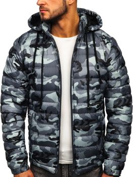Šedá pánska prešívaná športová zimná bunda Bolf   50A469