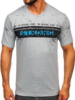 Šedé pánske tričko s potlačou BOLF 14204