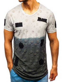Šedé pánske tričko s potlačou BOLF 318