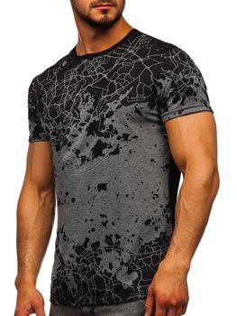 Šedé pánske tričko s potlačou Bolf SS11013