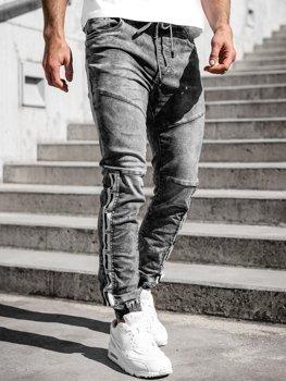 Sivé pánske riflové jogger nohavice Bolf T372
