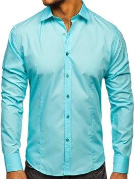 Svetlozelená pánska elegantná košeľa s dlhými rukávmi BOLF 1703