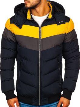 Tmavmodrá pánska zimná bunda Bolf 5808