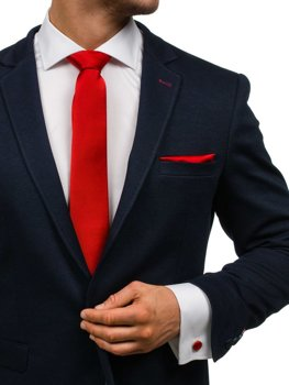 Tmavočervená pánska sada: kravata, manžety, kapesník BOLF KSP01