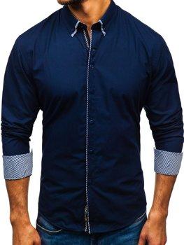Tmavomodrá pánska elegantá košeľa s dlhými rukávmi BOLF 2701-1