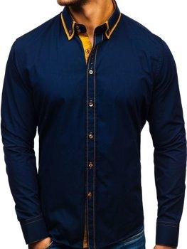Tmavomodrá pánska elegantá košeľa s dlhými rukávmi BOLF 3703