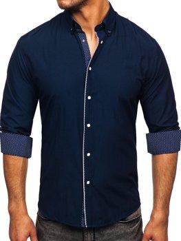 Tmavomodrá pánska elegantná košeľa s dlhými rukávmi Bolf 7724