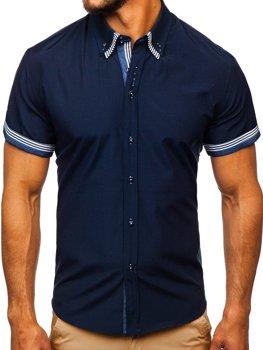 bad5e748e0d8 Tmavomodrá pánska košeľa s krátkymi rukávmi BOLF 2911