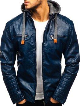 Tmavomodrá pánska koženková bunda BOLF ex702