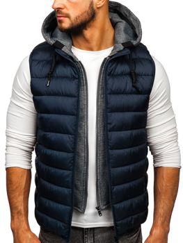 Tmavomodrá pánska prešívaná vesta s kapucňou Bolf B2679