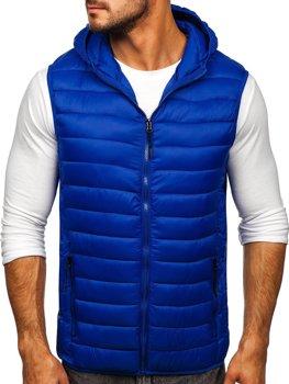 Tmavomodrá pánska prešívaná vesta s kapucňou Bolf HDL88002