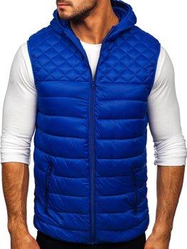 Tmavomodrá pánska prešívaná vesta s kapucňou Bolf HDL88003