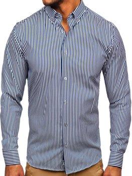 Tmavomodrá pánska pruhovaná košeľa s dlhými rukávmi Bolf 20726