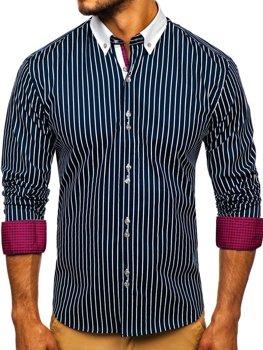 Tmavomodrá pánska prúžkovaná košeľa s dlhými rukávmi Bolf 9713